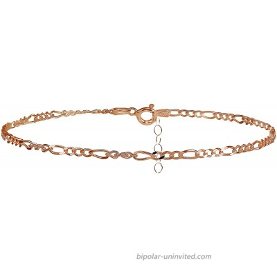 Hoops & Loops Rose Gold Flashed Sterling Silver Figaro Chain Anklet