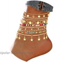 HZEYN 10PCS Boho Ankle Bracelets Sets Summer Beach Anklets Foot Chains Adjustable Foot Jewelry for Women Teen Girls