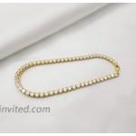 JA.S.JR 14K Gold Plated Cubic Zirconia Anklet Bracelet for Women Beach Foot Jewelry 10