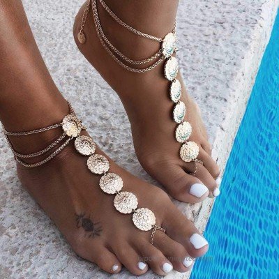 Jeairts Boho Carved Flower Barefoot Sandals Gold Anklet Fashion Folk Anklet Bracelet Vintage Beach Foot Chain Jewelry for Women and Girls(Pack of 2