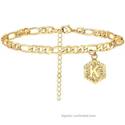 K Initial Anklet for Women Cuban Ankle Bracelet with Letter K Gold Alphabet Initial Anklet for Girls K