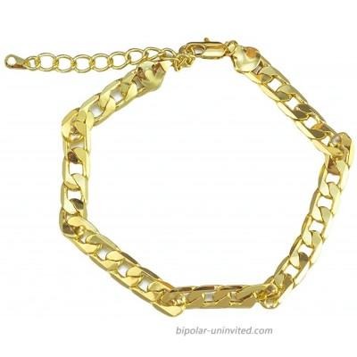 kelistom Gold Anklet for Women Men 14K Gold 18K Gold White Gold Plated Cuban Mariner Figaro Beaded Chain Ankle Bracelets for Women with Extension
