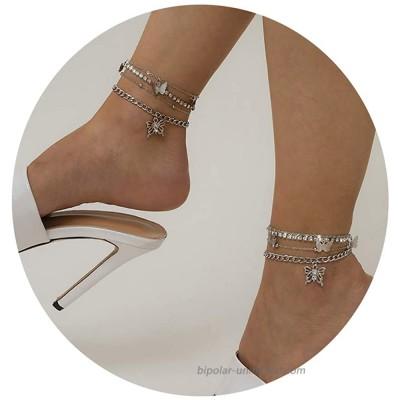 Konpicca Boho Layered Anklet Gold Butterfly Pendant Anklets Beach Cubic Zircon Ankle Bracelet Foot Jewelry Chain for Women Girls