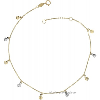 Kooljewelry 10k Two-Tone Gold Dangling Diamond-Cut Disc Charm Anklet adjusts to 9 or 10 inch