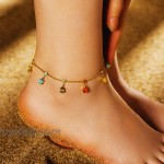 KRKC&CO Ankle Bracelets for Women with Multi-colored CZ stones 18k Gold White Gold Plated 2mm Cable Chain Anklet Cute Charm Anklet Beach Anklets with Extension Chain 2mm-18k Gold