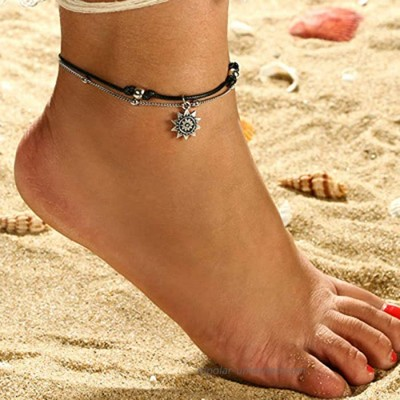 LittleB Layered Summer Sun Anklets Boho Rope AnkletBeads Ankle Bracelet Beach Foot Chain Jewelry for Women and Girls Black