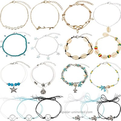 meekoo 18 Pieces Ankle Bracelets Ankle Chain Turtle Wave Anklet Bohemian Barefoot Beach Anklet Jewelry for Women Favors