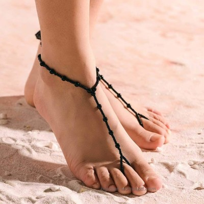 Obmyec Pearl Barefoot Sandals Wedding Ankle Bracelet Beaded Foot Chain jewelry 2pcs for Women and Girls Black