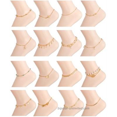 Ofeiyaa 16PCS Ankle Bracelets Beach Layered Anklets Boho Ankle Chains Foot Bracelets Set for Women Adjustable Gold Silve Tone