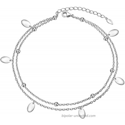 Oval Layered Anklet 925 Sterling Silver for Women Girls Adjustable Beads Ankle Bracelet Boho Beach Foot Chain 9+1.5 Inch Charm Jewelry Best Birthday Gifts