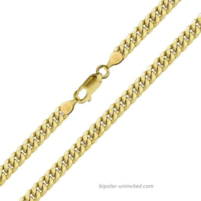 Real 10k Yellow Gold Hollow Miami Cuban Link Anklet Beach Bracelet 3.5mm 10 Inch for Women