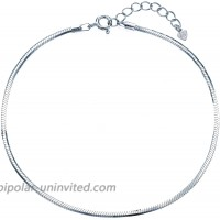 Reve 925 Sterling Silver Solid Diamond Cut Snake Chain Adjustable Anklet and Bracelet for Women and Gifts