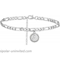 Silver A Initial Anklet Stainless Steel Anklet Bracelet for Women Letter Cuban Link Anklets Foot Chain JewelryA