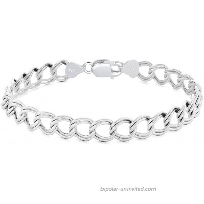 Sterling Silver 7MM & 8MM Double Link Charm Bracelet Anklet Light Weight Nickel Free 7MM- 8 Inch