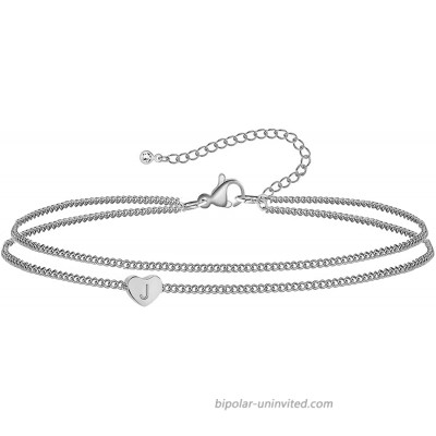 WIGERLON Heart Initial Ankle Bracelets for Women 15K Gold Plated Dainty Layered Anklet Letter Ankle Bracelets for Girl Sliver J