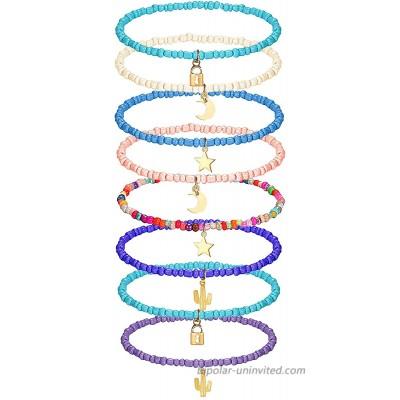 yfstyle 8PCS Small Bead Anklets for Women Girls Handmade Boho Beaded Anklets Beach Bead Ankle Bracelets for Girls Colorful Beads Ankle Beach Jewerly Anklet Set-B