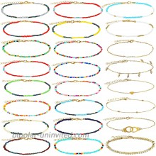 Yinkin 24 Pieces Colorful Boho Beaded Ankles Golden Alloy Chain Bracelets Adjustable Chain Anklet Bracelets Foot Chain