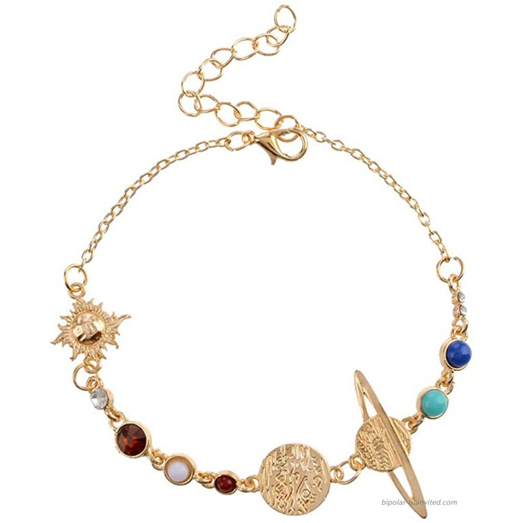 YOOE Eight Planets Universe Bracelet Anklet. Adjustable Gold Plate Chain Galaxy Space Bracelet Solar System Space Women Girls Jewelry anklet