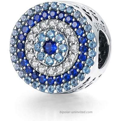 Annmors Crystal Evil Eye Bead Charm Lucky Charms fits Pandora Charms Bracelets for Woman-925 Sterling Silver Dangle Pendant Bead Girl Jewelry Beads Gifts for Women Bracelet&Necklace