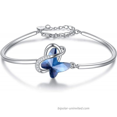 AOBOCO Sterling Silver Infinity Butterfly Bracelet Embellished with Crystals from Austria Hypoallergenic Anniversary Birthday Butterfly Jewelry Gifts for Women Daughter Wife Girlfriend MomBlue