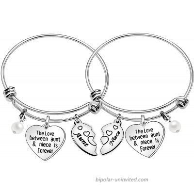Aunt Niece Bracelets Heart Pearl Charms Bangles Jewelry Gifts The Love Between An Aunt and Niece Is Forever