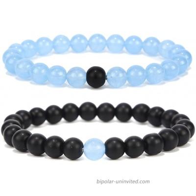 Black Matte Agate & Turquoise His and Hers Bracelets 8mm Sandstone Couple Bracelet Distance Bracelets XIAOLI Sky blue 2PCS Set