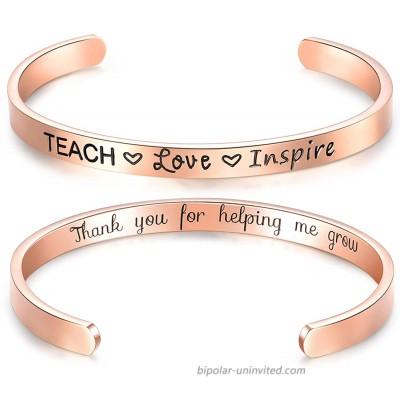 EPIRORA Teacher Appreciation Gifts Bracelet for Women- Graduation End of Year Teacher Gift Cuff Bangle | Grad Inspirational Jewelry Thank You Gifts for Teachers