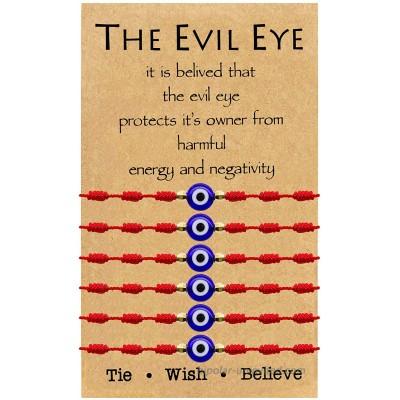 Evil Eye Bracelet 7 Knot Lucky Bracelets Adjustable Kabbalah String Bracelet for Women Men Family Fits Adult 6pcs Red Set