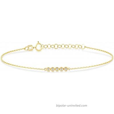 GELIN 14k Solid Gold 0.05 ct Genuine Diamond Five Stone Link Chain Adjustable Bracelet for Women