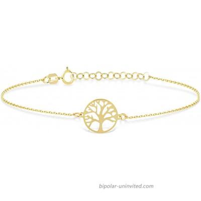 GELIN 14k Solid Gold Tree of Life Link Chain Adjustable Bracelet for Women