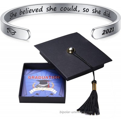 Graduation Gifts for Her 2021 She Believed She Could So She Did Inspirational Cuff Bracelet for Women Congratulations Gifts for High School College Student