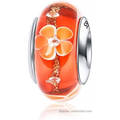 JIAYIQI Murano Glass Charm Fit Pandora Charm Bracelets 925 Sterling Silver Glass Beads Charm fit Pandora Bracelet and and Necklace