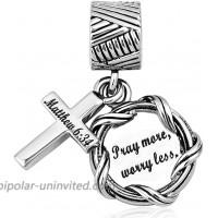 LilyJewelry Bible Dangle Charm Christian Keep Faith Cross Beads for Bracelets Style03