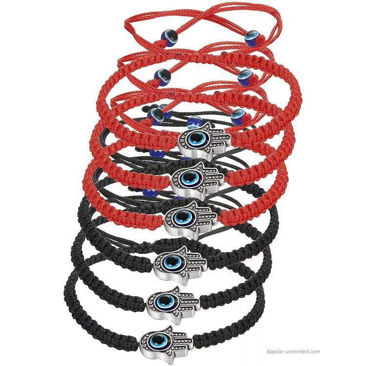 LOYALLOOK 6pcs Braided String Kabbalah Bracelets Rotating Evil Eye Hamsa Hand for Protection Bracelet Red Black String
