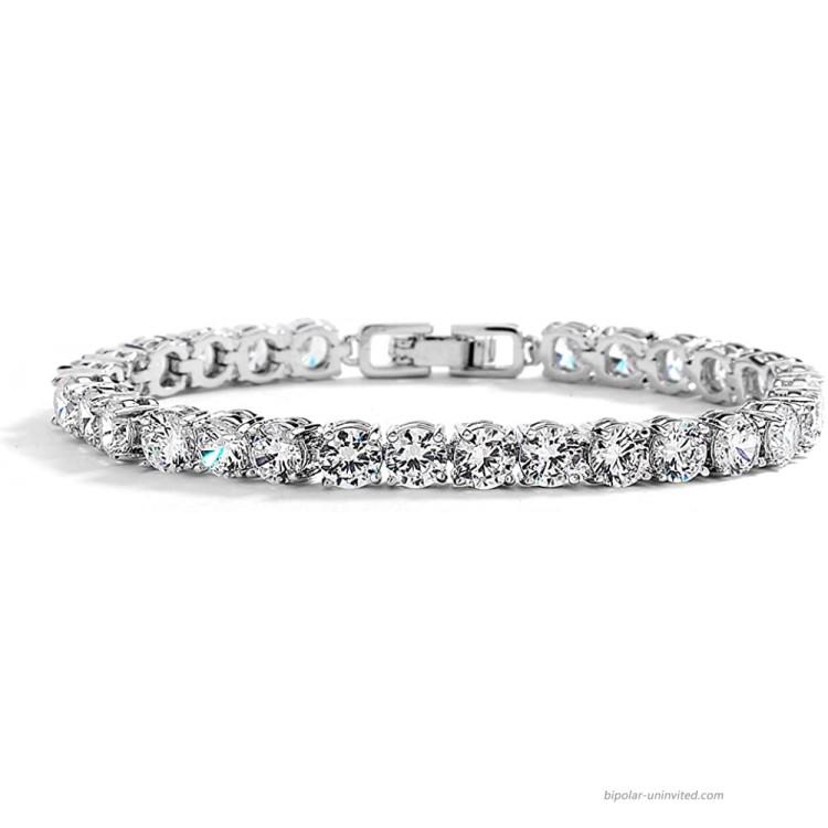 Mariell Silver Platinum 6 1 2 Petite Size CZ Crystal Bridal Tennis Bracelet Perfect for Smaller Wrist