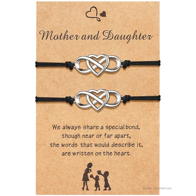 Mother Mom Daughter Bracelet Set Mother's Day Gifts for Mom Daughter Mommy and Me Infinity Heart Matching Bracelet for 2 Jewelry Gift for Mother Girls Women