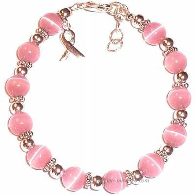 Pink Breast and Multi Cancer Awareness Bracelet by Hidden Hollow Beads Great For Fundraising 7 ¾ in size 8mm Pink Breast Cancer Bracelet Beads