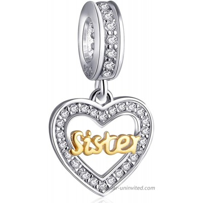 Sister Love Heart Bracelet Charms for Women - 925 Sterling Silver Dangle Dangling Pendants Beads - Fit Pandora Charm Bracelets Necklaces European Snake Chains - Birthday Thanksgiving Gifts.