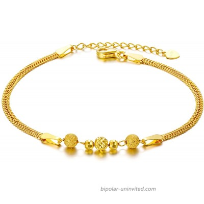 Solid 18k Yellow Gold Bead Bracelet for Women Fine Anniversary Jewelry Gifts for Wife Present for Her 6.5-7.7