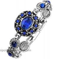 Speverdr Ancient silver and blue rhinestone alloy bracelet birthday gift birthday gift for girlfriend