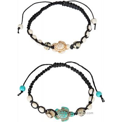 SPUNKYsoul Turtle Bracelet Set Adjustable Best Friend Couples Distance or Anklet Dalmatian Howlite Collection 2 Pack