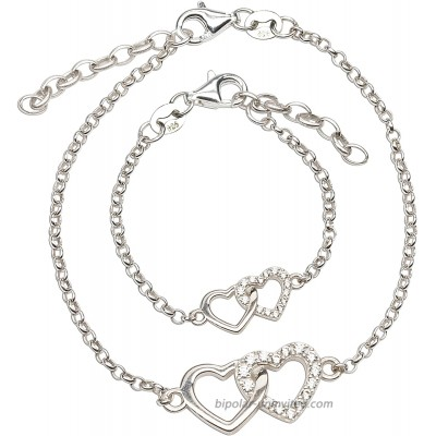 Sterling Silver Mom and Me Double Heart Bracelet Set for Mom and Daughter Set-MED
