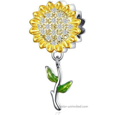 Sunflower Charms Fits Pandora Charms Bracelets You are My Sunshine Lucky Charms 925 Sterling Silver Dangle Pendant Bead for Women Gift