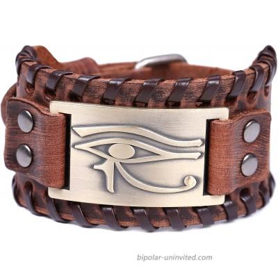 TEAMER Vintage Amulet Eye of Horus Leather Bracelet Cuff Bangle Egyptian Talisman Pagan Jewelry Antique Bronze Brown