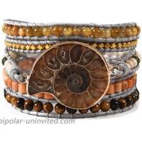 YGLINE 5 Wraps Natural Ammonite Fossil Jasper & African Turquoise Leather Bracelet Exquisite Mix Stones Women Fashion Wrap Bracelet Boho Bracelet Jewelry