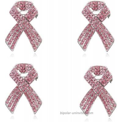 20 Pcs Pink Ribbon Pins Set Official Breast Cancer Awareness Lapel Pins Crystal Pins Hope Ribbon Lapel Rhinestone Pins Brooches for Women-4Pcs