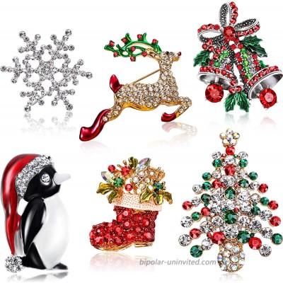6 Pieces Rhinestone Crystal Christmas Brooch Christmas Brooch Pins for Xmas Holiday Party Celebration Snowflake Penguin Bell Bow Knot Reindeer Christmas Tree and Boots
