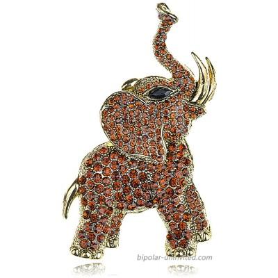 Alilang Golden Tone Brown Rhinestones Animal Elephant Trunk Brooch Pin Brooches And Pins