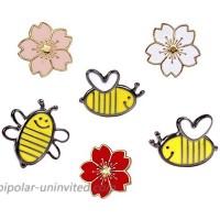 Cute Enamel Lapel Pins Sets Cartoon Animal Plant Fruits Foods Brooches Pin Badges for Clothing Bags Backpacks Jackets Hat DIY Sakura bee Set of 6