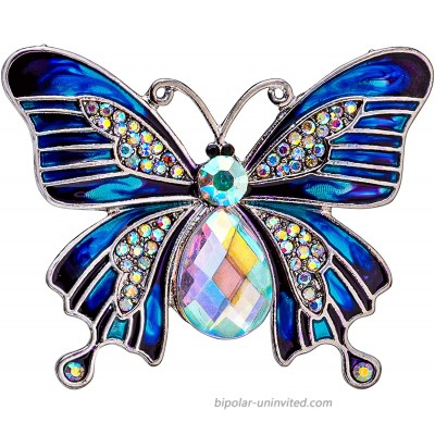 eXcaped Scarf Ring Butterfly Gifts for Women Diamante Scarf Jewelry Clip Accessory in Gift Box Dress Shawl Pin Rhinestone Brooch Jewelry for Scarf Fashion Clips for Clothing Scarf Buckle Ring